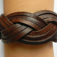 Brown leather braided bracelet--Unisex simple fashion brown leather braided cross leather bracelet