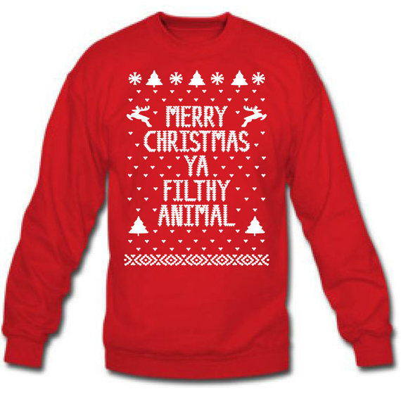 Merry Christmas Ya You FILTHY ANIMAL ugly xmas sweater winner Mens i8wNFAf3