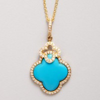 Dove's turquoise and diamond clover shaped pendant necklace | BLUEFLY up to 70% off designer brands