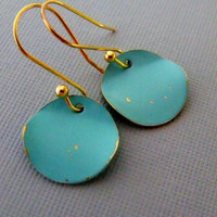 Dangling Turquoise And Gold Coin Earrings