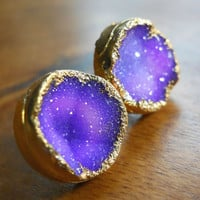 Purple druzy stud earrings, 18k gold dipped