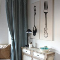 "Kitchen Fork and Spoon Decor Vinyl Wall Decal 33"" graphic Sticker wall Art  for home decor"