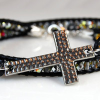 Silver Cross Crystal Wrap Bracelet - Crystal Marea Fire Polished Crystals - Black Leather