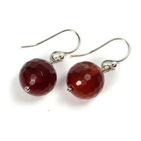 Carnelian Earrings, Silver, Handcrafted Jewellery