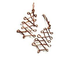 Christmas Tree Earrings, Handmade Copper Wire, Simple Drop Dangles
