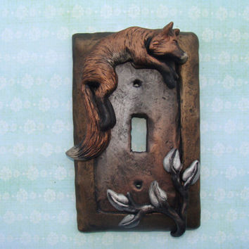 Fox Leaf Light Switch Cover Polymer Clay Lightswitch Plate Metallic Leaves