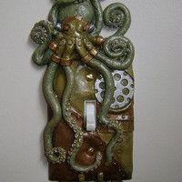Green, Hand Made, SteamPunk, Octopus, Light Switch Cover with key chain holders