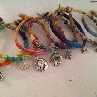 Hemp friendship charm bracelets- you pick 2 styles and colors- peace, cannabis, Buddha, ohm, aum,mushroom, grateful dead, hemp jewelry