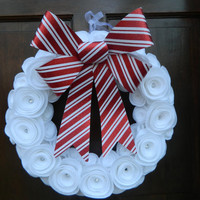 Christmas Candy Cane Wreath - White Felt Flower Wreath with Crystal Accents and a Red and White Striped Bow - 16 inch