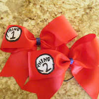 Thing 1, Thing 2, & Thing 3 Red Cheer Bows