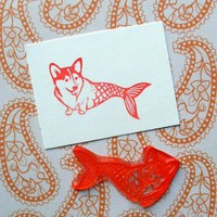 Corgi Fish clear polymer rubber stamp