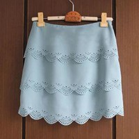 Tiered Cut Out Wave Hem Chiffon Skirt
