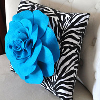 Accent Pillow Turquoise Rose on Zebra Print Throw by bedbuggs