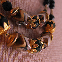 Tribal Black Gold Silver Bead Necklace/ by GiltyGirlVintage