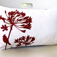 SALE Burgundy Red Print on Off- White Cardinal on Agapanthus Rectangle Pillow