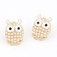 Cute Pearl Owl Stud Earrings wholesale from China
