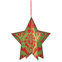One Kings Lane - Season's Best - Wood Damask Star Ornament