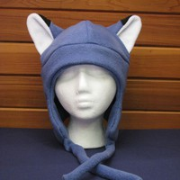 Fleece Fox Hat - Slate Blue Aviator Style by Ningen Headwear on Etsy