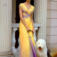 Two Tone Pleated Prom Dress in Yellow and Purple