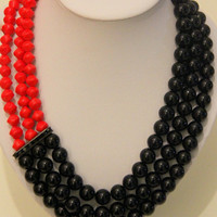 Red Orange and Black African Glass Bead Layered Necklace
