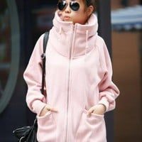 Young Person Style High Collar Jackets Pink : Wholesaleclothing4u.com