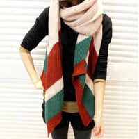 Winter Warm Long Color Stripped Scarfs Black Ivory Orange Pink