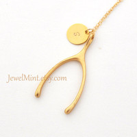 Wishbone Gold Necklace, good luck, gold wishbone, fortune, large wishbone pendant, lucky necklace, gold filled necklace, initial, monogram
