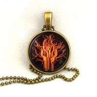 10% SALE Necklace Circuit Design Orange Tree Glowing Art Pendant Gift Round Glass Domed