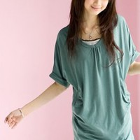 Singapore Fashion Concise T-shirts Light Blue Plus Sizes 