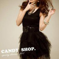 Candy Trendy Black Lady Camisole Dresses_S/S Dresses_Wholesale - Wholesale Clothing, Wholesale Shoes, Bags, Jewelry, Wholesale Fashion Apparel & Accessories Online