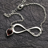 FREE SHIP Silver Heart Forever Directioner Infinity Bracelet One Direction 1D