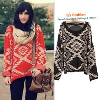 2012 Woman Geometric Ethical Argyle Design Slouchy Sweater Tee Knitwear Cardigan