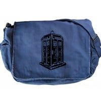 Doctor WHO Bag Tardis Messenger Bag Blue Police Box Tardis Bag