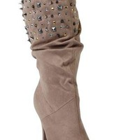 high heel boot features allover suede and stud details - debshops.com