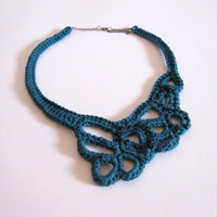 Blue crocheted necklace with black beads. OOAK mercerised cotton collar. Fibre jewellery.