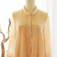 CREME BRULEE  3/4 Long Sleeve Sheer Peach by FleetCollection