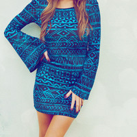 Oh My Mayan Dress: Blue/Black | Hope's