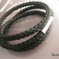 Punk  Black Leather and metal Bracelet  mens bracelet cool bracelet jewelry bracelet bangle bracelet  cuff bracelet 1294S