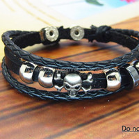 Punk  Leather and metal Bracelet  mens bracelet cool bracelet jewelry bracelet bangle bracelet  cuff bracelet 1293S
