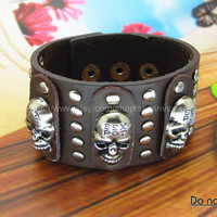 Punk Leather and metal Bracelet  mens bracelet cool bracelet jewelry bracelet bangle bracelet  cuff bracelet 1291S