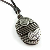Brown real Leather and alloy pendant adiustable necklace mens necklace  unisex necklace cool necklace B167