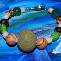 Mixed Media Earth Tone Beaded Bracelet, Handmade green and brown bracelet
