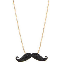 Betsey Johnson Film Noir Mustache Pendant Necklace