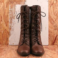 Vintage No. 577 Brown Lace Up Knee High Boot Size 8.5 in Autumn at Solestruck.com