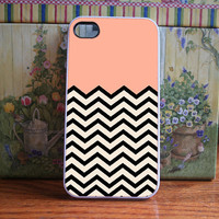 Peach Chevron - iPhone 4S and iPhone 4 Case Cover