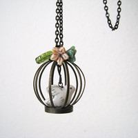 Whimsy Birdcage with Flowers Necklace by lunashineshine on Etsy