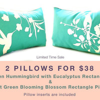 Limited Time Sale 2 Mint Gray Bird Pillows for 38 US Dollars