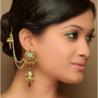 Floral Jhumki Earrings with Wine Drops  - Exclusively In