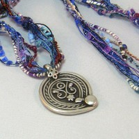 OOAK Artsian Fiber Necklace With Silver Indian Symbol Pendant