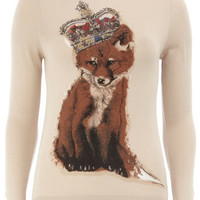 Oatmeal fox jumper